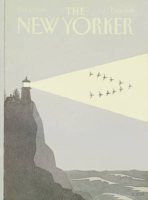 Flock Of Geese Painting - New Yorker October 27th, 1980 by Charles E. Martin