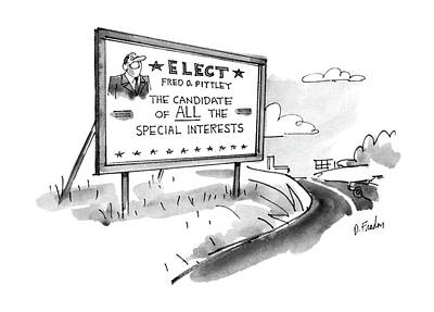 Elected Drawing - New Yorker October 27th, 1986 by Dana Fradon