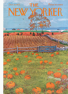 Pumpkins Painting - New Yorker October 28th, 1972 by Albert Hubbell
