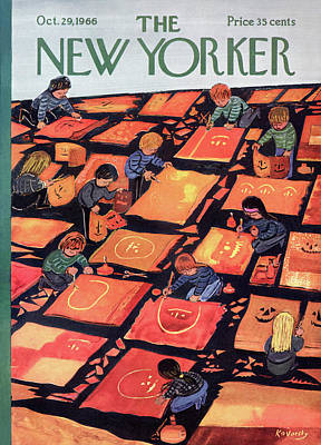Pumpkins Painting - New Yorker October 29th, 1966 by Anatol Kovarsky