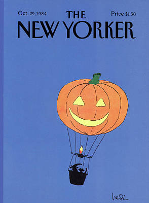 Hot Air Balloon Painting - New Yorker October 29th, 1984 by Arnie Levin