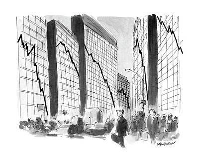 Glass Wall Drawing - New Yorker October 29th, 1990 by James Stevenson