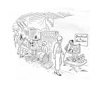 Storefront Drawing - New Yorker October 2nd, 1943 by  Alain