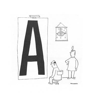 Eye Chart Drawing - New Yorker October 30th, 1943 by Saul Steinberg