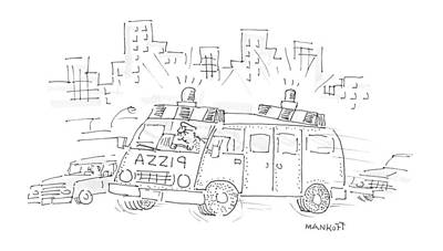 Traffic Light Drawing - New Yorker October 30th, 1995 by Robert Mankoff