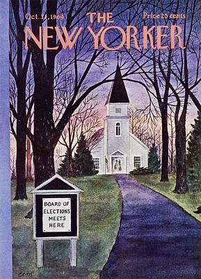 Winter Landscape Painting - New Yorker October 31st 1964 by Charles Martin