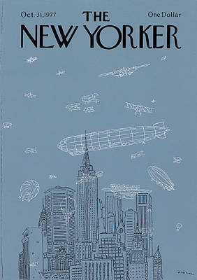 Airplane Painting - New Yorker October 31st, 1977 by R.O. Blechman