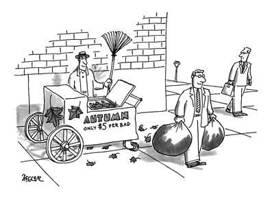 Street Vendor Drawing - New Yorker October 31st, 1994 by Jack Ziegler
