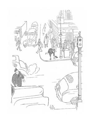 Stop Sign Drawing - New Yorker October 3rd, 1942 by George Price