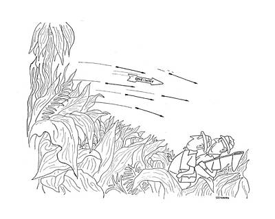 Jungle Drawing - New Yorker October 3rd, 1942 by Saul Steinberg