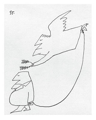 Angels Drawing - New Yorker October 3rd, 1959 by Saul Steinberg