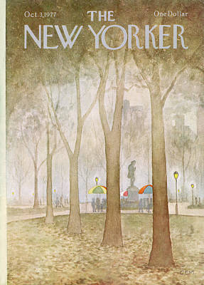 Autumn Painting - New Yorker October 3rd, 1977 by Charles E Martin