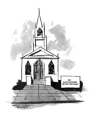 The Church Drawing - New Yorker October 3rd, 1994 by Mischa Richter