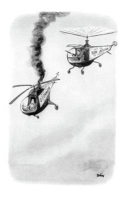 Helicopter Drawing - New Yorker October 4th, 1952 by Eldon Dedini
