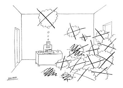 Business Drawing - New Yorker October 4th, 1969 by Saul Steinberg