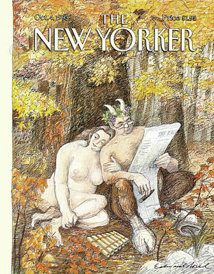 Autumn Painting - New Yorker October 4th, 1993 by Edward Sorel