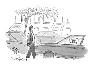 Window Signs Drawing - New Yorker October 4th, 1993 by Mort Gerberg