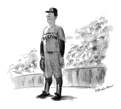 Baseball Player Drawing - New Yorker October 5th, 1981 by James Stevenson