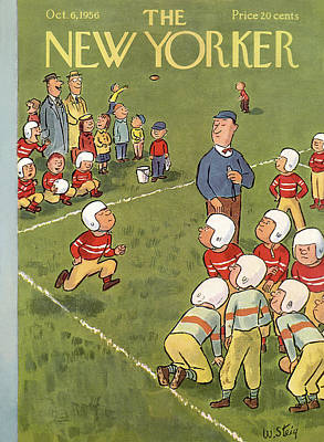 Playing Football Painting - New Yorker October 6th, 1956 by William Steig