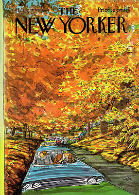 Autumn Painting - New Yorker October 7th, 1974 by Charles Saxon
