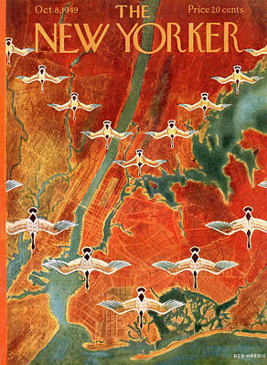 Geese Painting - New Yorker October 8th, 1949 by Reginald Massie