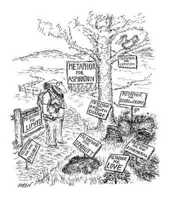 Metaphor Drawing - New Yorker October 8th, 1979 by Edward Koren