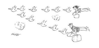 Flock Of Bird Drawing - New Yorker October 8th, 1990 by Mischa Richter