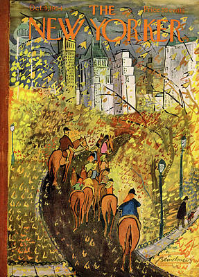 Horseback Painting - New Yorker October 9th, 1954 by Ludwig Bemelmans