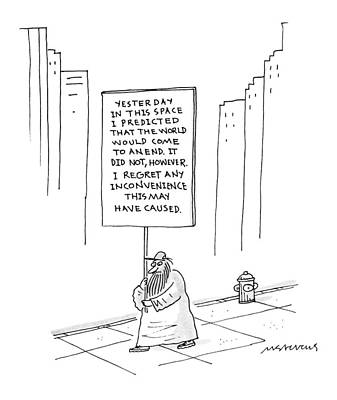 Doomsday Drawing - New Yorker October 9th, 1995 by Mick Stevens