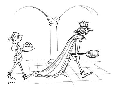 The King Drawing - New Yorker September 12th, 1977 by Frank Modell