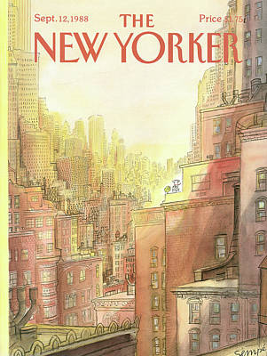 Rooftops Painting - New Yorker September 12th, 1988 by Jean-Jacques Sempe