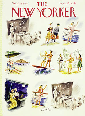 Blackboards Painting - New Yorker September 14 1940 by Constantin Alajalov