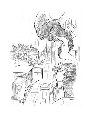 Burnt Drawing - New Yorker September 14th, 1940 by  Alain