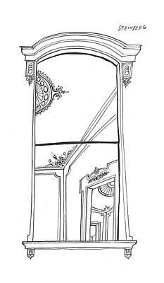 Doorway Drawing - New Yorker September 14th, 1957 by Saul Steinberg