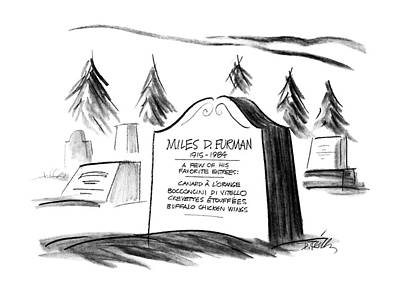 Grave Drawing - New Yorker September 14th, 1987 by Donald Reilly