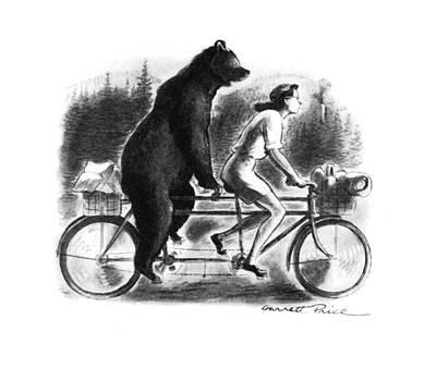 Bear Drawing - New Yorker September 16th, 1944 by Garrett Price