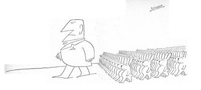 Marching Drawing - New Yorker September 16th, 1967 by Saul Steinberg