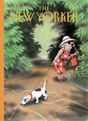 Sniffing Painting - New Yorker September 16th, 1996 by Ian Falconer