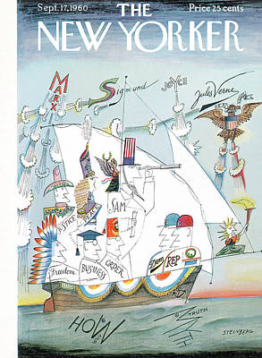Uncle Sam Painting - New Yorker September 17th, 1960 by Saul Steinberg