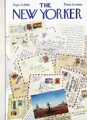Mailbox Painting - New Yorker September 17th, 1966 by Saul Steinberg