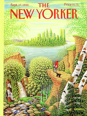 Dog In Landscape Painting - New Yorker September 17th, 1990 by Bob Knox