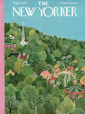 Steeple Painting - New Yorker September 1st, 1951 by Ilonka Karasz