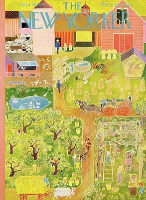Farm Painting - New Yorker September 20th, 1947 by Ilonka Karasz