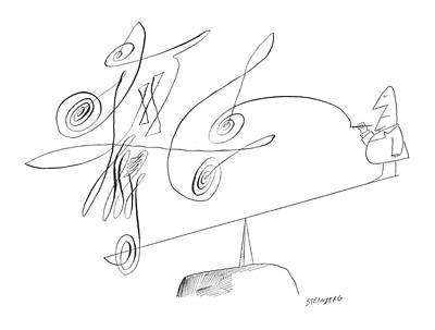 Sketching Drawing - New Yorker September 21st, 1963 by Saul Steinberg
