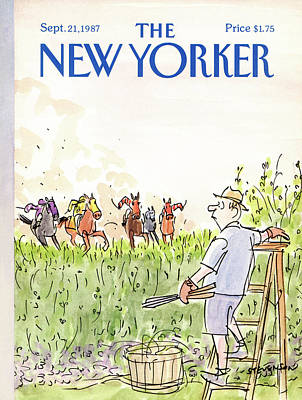 Polo Painting - New Yorker September 21st, 1987 by James Stevenson