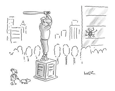 Baseball Art Drawing - New Yorker September 22nd, 1986 by Arnie Levin