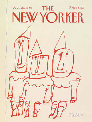 Clown Art Painting - New Yorker September 22nd, 1986 by Robert Tallon