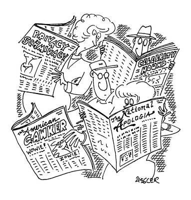 Man Reading Drawing - New Yorker September 22nd, 1997 by Jack Ziegler