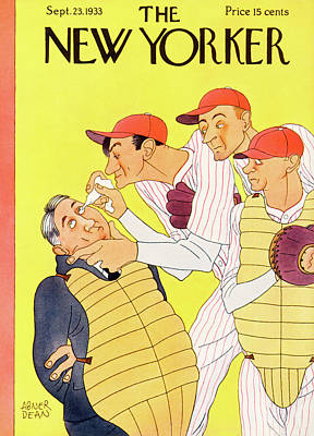Catcher Painting - New Yorker September 23rd, 1933 by Abner Dean