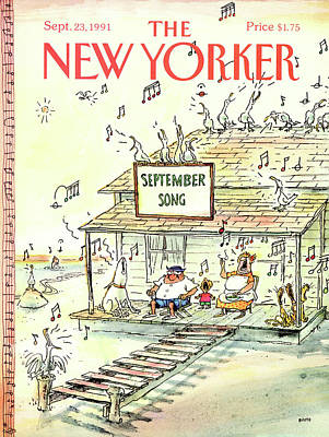 Lyrics Painting - New Yorker September 23rd, 1991 by George Booth